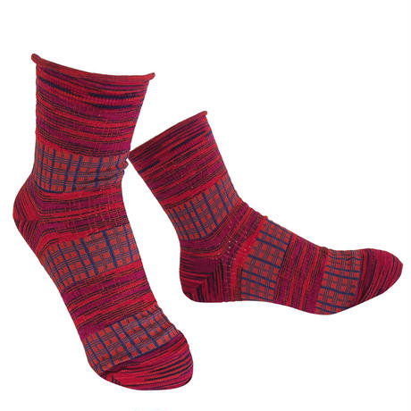 【nonnette】 Plaid mix  Socks    NS231Y- 30/ red