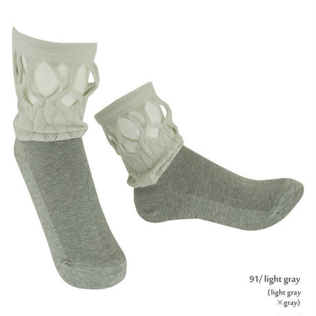 【nonnette】 Fabric combination Socks      NS223R- 91/ light gray