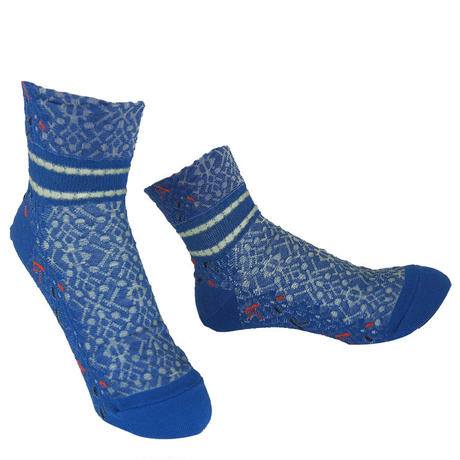 【nonnette】 Switching  lace  Socks       NS254Y-80/blue