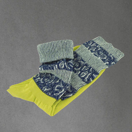 【nonnette】 Jacquard line  Socks      NS219Y- 20/ lime yellow