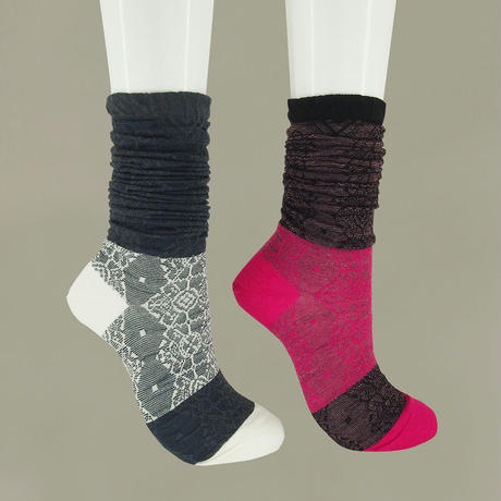 【nonnette】  illumination wool High socks        NH028Y-99 / black