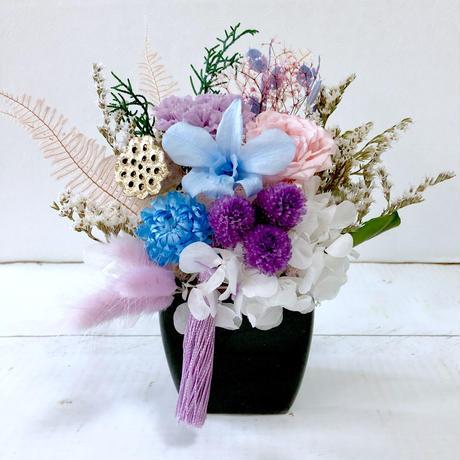 プリザーブドフラワー 仏花 ブルー パープル系