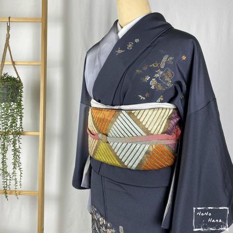 【訪問着】正絹 袷 刺繍の宝尽くし 墨色・灰色暈し