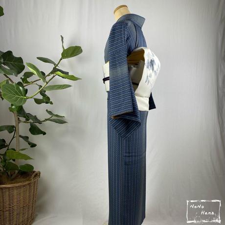 【小紋】正絹 袷 折れ縞 鉄紺