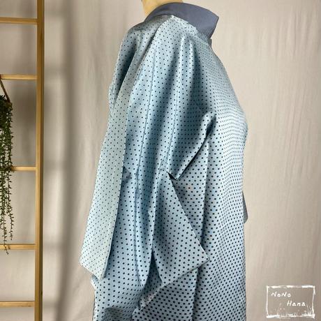 【コート】正絹 袷 角通し 絵羽道行コート 空色