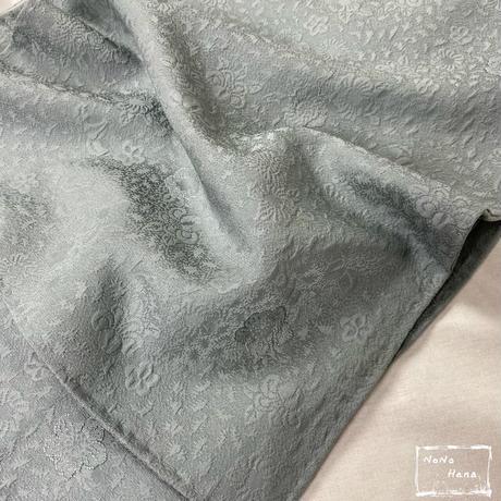 【色無地】正絹 袷 辻が花地紋 一つ紋付 浅葱鼠色