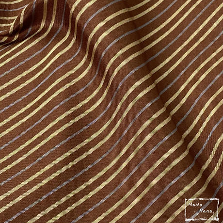 【紬】正絹 袷 綾織り子持縞 栗皮色