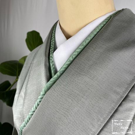 【大島紬の訪問着】正絹 袷 海松色・灰緑色