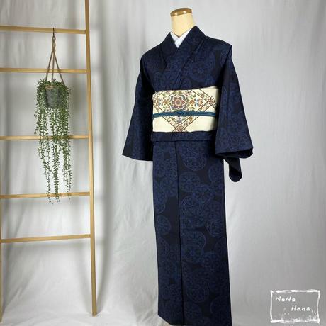 【紬】正絹 単衣 源氏車 藍染め