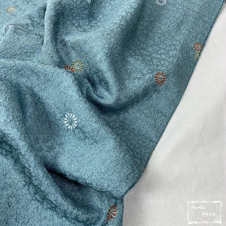 【小紋】正絹 単衣 小菊の飛び柄 花浅葱色