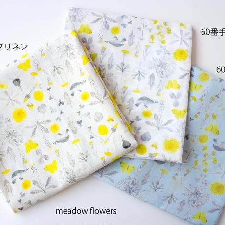 カットクロス・meadow flowers ライトブルー / 60番手ローン 50cm×72cm