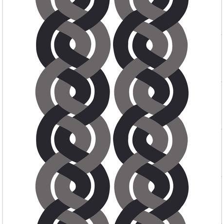 <受注販売> Dubbelflatan Black Grey ファブリック (幅147cm x 長さ120cm)
