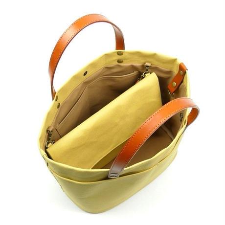 サコッシュ付きトートバッグ/カラシ(倉敷帆布+栃木レザー使用)