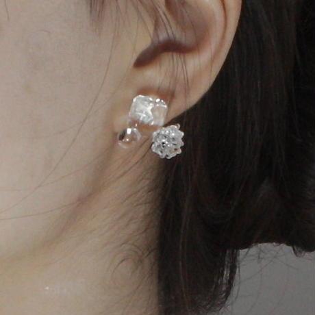 Sugar cube Earrings Clear / シュガーキューブピアス クリア