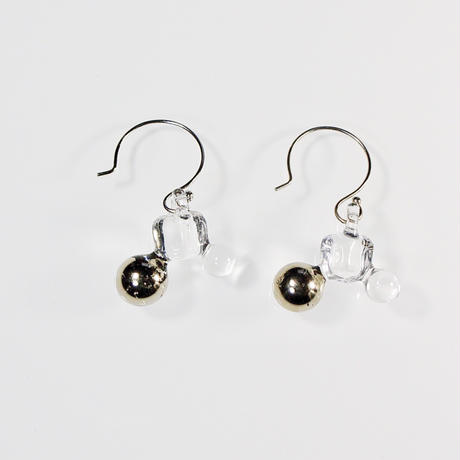 Ball Cube Earrings Platinum/ ボールキューブピアス