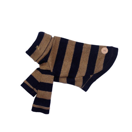 Stripe Wool Knit High Neck Long Sleeve Navy × Beige < SS ~  S/M >