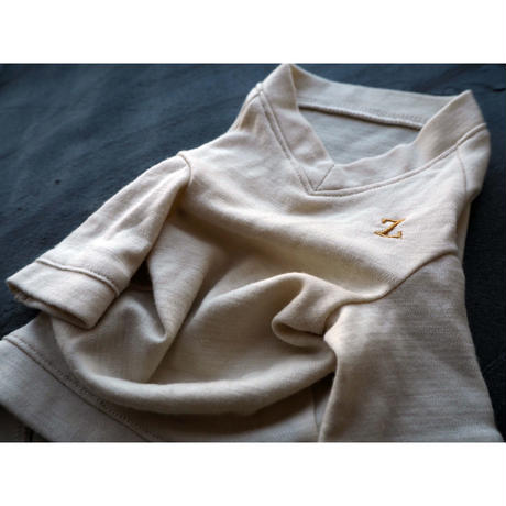 16.5μ (マイクロン)ウール スムースニット  VネックTシャツ SS ~ S/M