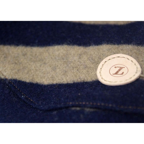 Stripe Wool Knit High Neck Tank Top Navy × Beige  < M ~ M/L >