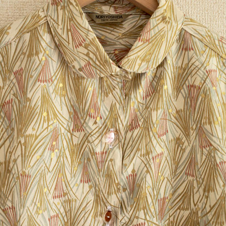 Leaf pattern x Gold dots casual half sleeve shirt (no.149)