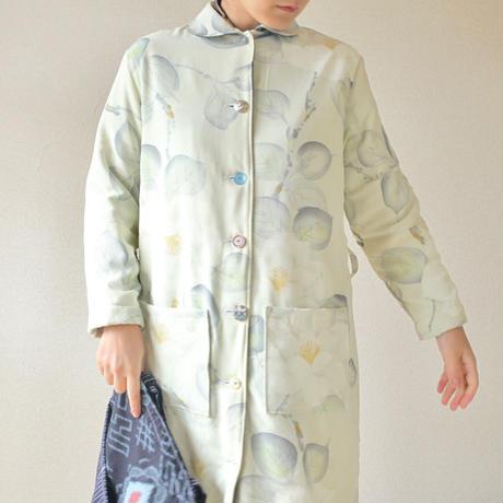 White Camellia Kimono Winter long coat (no.106)
