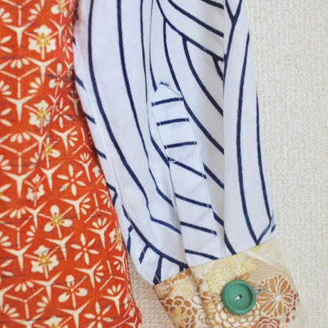 Orange x Vintage Yukata shirt (no.139)