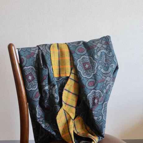 4pockets abstarct pattern x yello check Oversized Kimono Coat (no.233)