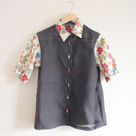 Black x flower pattern  see-through  shirt (no.158)