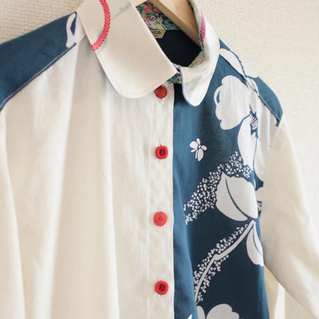 Blue x Ecru 2 color casual shirt (no.148)