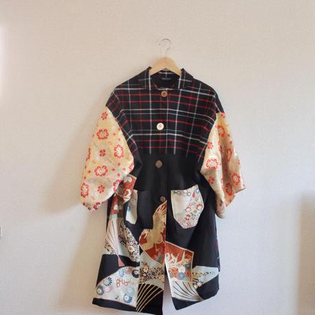 Black check pattern x gorgeous Kimono casual coat (no.273)