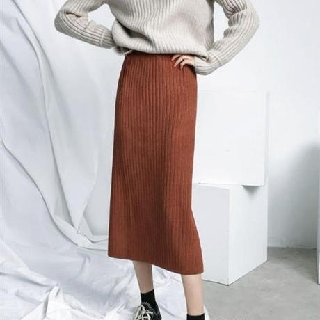 Back vent knit tight skirt