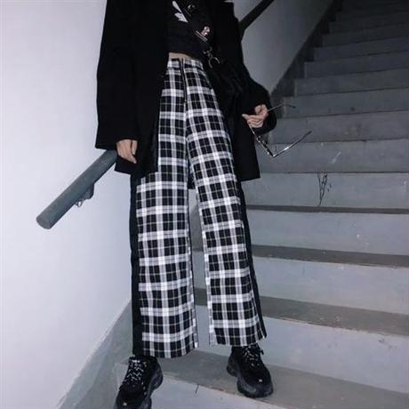 check wide pants