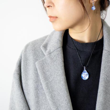 <Blue Snow Patternセット> ネックレス+ピアス/イヤリングSサイズ