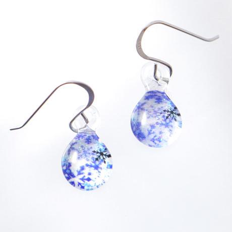 ピアス/イヤリングSサイズ Blue Snow Pattern  [PDS-B-040/EDS-B-040]