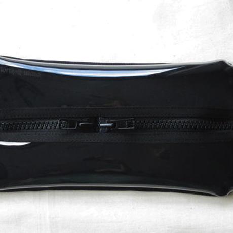 ティッシュケース 帆布×ビニール/黒