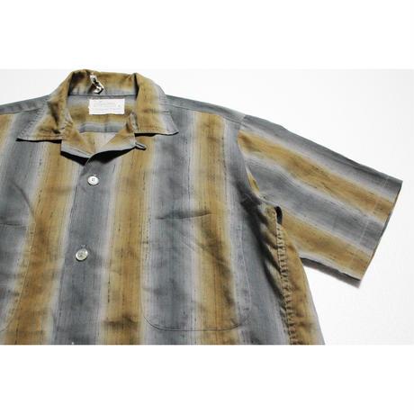 60's〜 Signature FASHIONS Ombre Striped S/S Shirts (S) シャドーストライプ ショートスリーブ シャツ