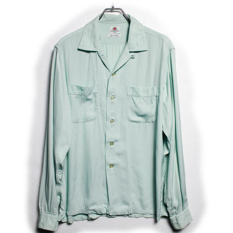 50's~  Safe in Suds RAYON SHIRT (16-35)  レーヨン オープンカラーシャツ ハンドステッチ