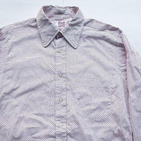 60's Wallachs by Hathaway Rayon×Cotton Dot Pattern L/S Shirts (15 1/2-33) ハサウェイ レーヨン×コットン ドット シャツ