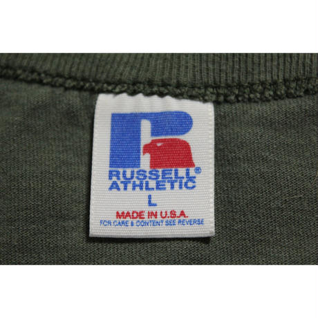 90's RUSSELL ATHLETIC 100% Cotton Plain T-SHIRTS (L) ラッセル クルーネック コットン Tシャツ 無地  緑