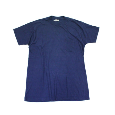 70's CALDOR Cotton T-Shirts with Round Pocket (about L) コットン ポケットTシャツ ポケT 丸ポケ ネイビー 紺