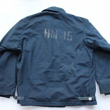 1990 USN JACKET,COLD,WEATHER,FLAMERESISTANT,CLASS 1 US Navyアラミドデッキジャケット (L) ステンシル