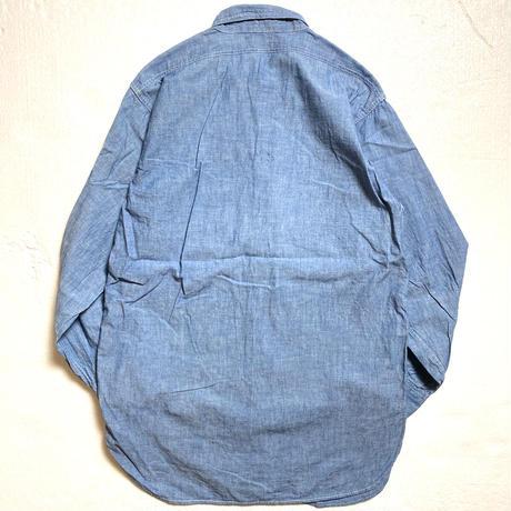 40's WW2 U.S.NAVY Chambray Shirt (15)  USN USネイビー シャンブレーシャツ マチ付き ステンシル 襟ダブルステッチ