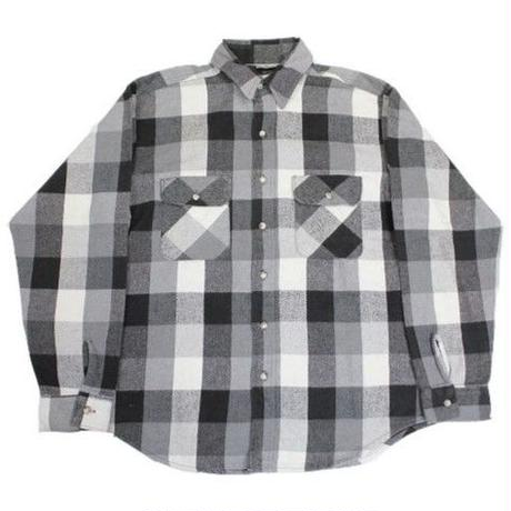 80's~ FIVE BROTHER PLAID HEAVY FLANNEL SHIRT (L) ファイブブラザー バッファローチェック ヘビーネル 黒白