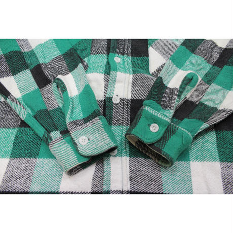 60's BIG YANK? PLAID HEAVY COTTON FLANNEL SHIRTS ビッグヤンク マチ付き ヘビーネル 緑