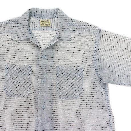 50's Pilgrim See-through Stripe S/S SHIRT (L)ピルグリム シースルー ボーダー オープンカラーシャツ