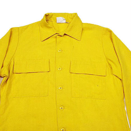 90's US Forest Service SHIRT, MEN'S FLAME- RESISTANT (ARAMID) LARGE フォレストサービス アラミド ユーティリティーシャツ 黄色