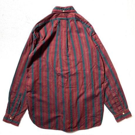 60's CREIGHTON Cotton Striped L/S Oxford B.D.Shirts (M) クレイトン コットン ストライプ オックスフォード ボタンダウンシャツ マチ付き