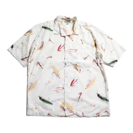 80's L.L.Bean Flies All Over Print S/S Shirts (XL) LLビーン フライプリント コットンシャツ 半袖 総柄