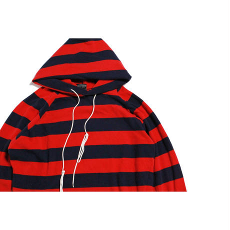 70's CONQUEROR Striped Authentic HOODED SHIRT  (XL) ボーダー ロングスリーブ Tシャツ フーディー