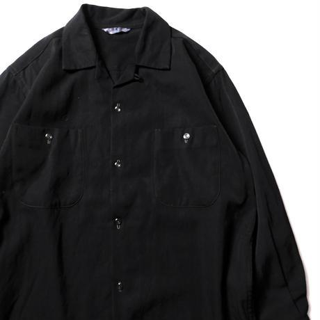 50's 60's 藤亀洋服店 Open Collar Wool Shirts Black (M位) ボックス オープンカラー ウールシャツ 黒