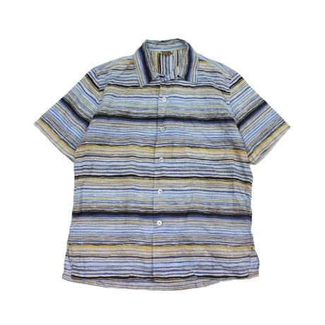 60's Cove Striped All Over Print Loop Collar S/S SHIRT (M) ボーダー 総柄プリント ショートスリーブシャツ オープンカラー